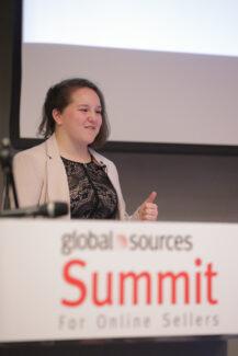 Samantha Rosenbaum presenting at Global Sources Summit
