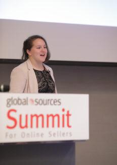 Samantha Rosenbaum speaking at Global Sources Summit