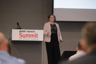 Samantha Rosenbaum speaking at Global Sources Summit for online sellers